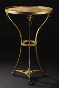 Furniture, A French Louis XVI-style Gilt Bronze and Marble Table. Unknown maker, French. Twentieth century. Gilt bronze and marble. U...