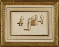 Fine Art - Painting, European:Antique  (Pre 1900), A 19th Century Italian Figural Study. Valencienne, Italian. 19thCentury. Watercolor and graphite on paper. Signed at lowe...