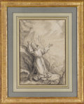 Fine Art - Painting, European:Antique  (Pre 1900), An Italian 19th Century Figurative Drawing. Unknown artist, Italian. 19th Century. White chalk and graphite on paper. 12.5...