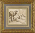 Fine Art - Painting, European:Antique  (Pre 1900), A Continental Study of Livestock. Unknown artist, Continental.18th/19th Century. Ink and graphite on paper. 6.5 inches x ...