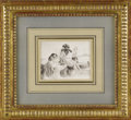 Fine Art - Painting, European:Antique  (Pre 1900), A German 19th Century Figurative Drawing. Unknown artist, German.19th Century. Graphite, chalk on paper. 3.75 inches x 4....