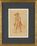 Fine Art - Painting, European:Antique  (Pre 1900), A Continental 19th Century Figurative Drawing. T.E. Marus,Continental. 1813. Red chalk on paper. Signed and dated:T.E....