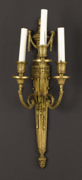 Decorative Arts, French:Lamps & Lighting, A Pair of Continental Gilt Bronze Three Light Sconces. . Unknownmaker, Continental. Nineteenth century. Gilt bronze. Unmark...(Total: 2 Items)