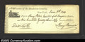 Miscellaneous:Checks, New York, NY - June 6, 1804. A ceck signed by one Henry Remsen,...
