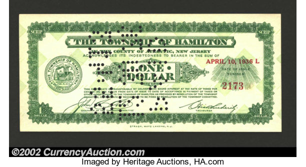 1936 $1 Township of Hamilton, NJ, Crisp Uncirculated, POC