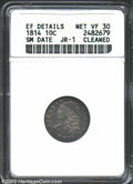 Bust Dimes: , 1814 10C Small Date VF30 ANACS. JR-1....