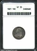 Bust Dimes: , 1821 10C Large Date VF35 ANACS. ...