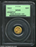 Commemorative Gold: , 1922 G$1 Grant with Star MS66 PCGS. Both sides are olive-...