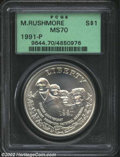 Modern Issues: , 1991-P $1 Mount Rushmore Silver Dollar MS70 PCGS. ...