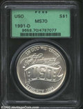 Modern Issues: , 1991-D $1 USO Silver Dollar MS70 PCGS. ...