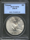 Modern Issues: , 1994-W $1 Vietnam Veterans Memorial Silver Dollar MS70 PCGS. ...
