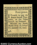 Colonial Notes:Pennsylvania, Pennsylvania January 18, 1777 4d Gem New. The Four Pence ...