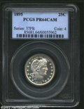 Proof Barber Quarters: , 1895 25C PR64 Cameo PCGS. While the obverse is brilliant, ...