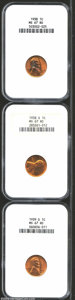 Lincoln Cents: , 1938 1C MS67 Red NGC, deep orange and rose color, ...