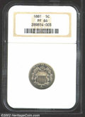 Proof Shield Nickels: , 1881 5C PR66 NGC. Nice contrast between the mirrored ...
