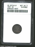 Early Half Dimes: , 1801 H10C--Damaged, Bent--ANACS, VG Details, Net AG3. ...