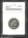 Proof Barber Quarters: , 1904 25C PR60 ANACS. Milky toning is found behind Liberty'...