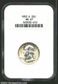 Washington Quarters: , 1953-D 25C MS67 NGC. Fully struck throughout, with ...