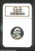 Proof Washington Quarters: , 1955 25C PR68 Cameo NGC. A small band of light-mauve tone ...