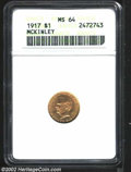 Commemorative Gold: , 1917 $1 McKinley MS64 ANACS. A bold strike resulted in ...