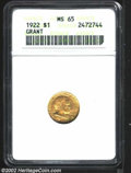 Commemorative Gold: , 1922 $1 Grant MS65 ANACS. This pleasing Gem ...