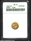 Commemorative Gold: , 1922 $1 Grant with Star MS61 ANACS. Boldly struck and ...