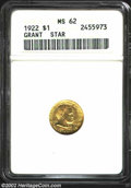 Commemorative Gold: , 1922 $1 Grant with Star MS62 ANACS. Green-gold and honey-...