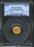 Commemorative Gold: , 1922 $1 Grant with Star MS66 PCGS. Frosty and attractive,...