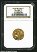 Indian Half Eagles: , 1908 $5 MS62 NGC. Orange-gold surfaces with a trace of ...