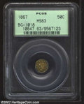 California Fractional Gold: , 1867 50C Liberty Round 50 Cents, BG-1018, R.5, MS63 PCGS. ...