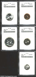Certified Modern Proof Sets: , 1951 1C Cent PR64 Red ANACS, fully red with no singularly ...