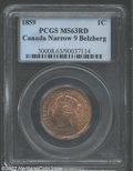 1859 1 Cent Narrow 9 MS63 Red PCGS. MS63 Red and Brown ICCS. Bright and lustrous with an average strike and a nicer appe...