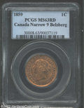 1859 1 Cent Narrow 9 MS63 Red PCGS. MS63 Red ICCS. Bright luster with light spotting that prevents a higher grade. Only...