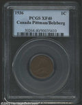1936 1 Cent XF40 PCGS. VF20, Date Flaw, ICCS. Ex: John Jay Pittman Collection. Not the rare Dot variety