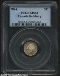 1884 5 Cent Near 4, MS63 PCGS. Lustrous and brilliant with a hint of golden toning and a few light flan flakes that limi...