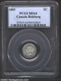 1885 5 Cent Large 5, MS64 PCGS. MS64 First Strike, Cameo, ICCS. Full, bright luster with just a hint of peripheral tonin...