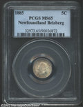 1885 5 Cent Large 5, MS64 PCGS. Large Recut 5, MS64 ICCS. Satiny surfaces with full, delicate luster and golden-rose ton...