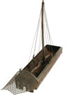 "Movie/TV Memorabilia:Props, ""Cleopatra"" Miniature Boat. A 4"" x 18"" x 12"" miniature boatconstructed from sheet metal, a wooden mast, and small cloth sai..."