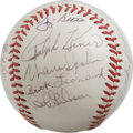 Autographs:Baseballs, 1981 Hall of Famers Multi-Signed Baseball. From the 1981Cooperstown gathering for that year's Baseball Hall of Fameinduct...