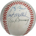 Autographs:Baseballs, Baseball Stars Multi-Signed Baseball. Eight members of baseball'sHall of Fame have checked in on the ONL (Feeney) orb that...