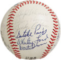 Autographs:Baseballs, 1974 Hall of Famers Multi-Signed Baseball. Memorable assortment oftop tier talent appears on an ONL (Feeney) ball that mad...