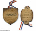 Political:Ribbons & Badges, Rare Matched Pair of 1932 Election Badges Made of a composition material to resemble wood. While we have seen the Herbert ...