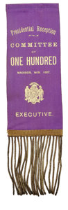 Political:Ribbons & Badges, Unusual Grover Cleveland Ribbon Badge From Wisconsin...