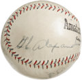 Autographs:Baseballs, 1930's Dizzy Dean & Grover Cleveland Alexander Signed Baseball.Two of the most skilled hurlers ever to take to the mound a...