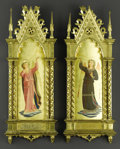 Decorative Arts, Continental:Other , A Pair of Continental Oil Paintings of Trumpeting Angels. In theManner of Fra Angelico (Italian, c.1395 - 1455). Nineteenth...(Total: 2 )