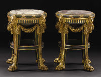A Pair of Fine Italian Carved Polychrome Tabourets  Unknown maker, Italian Undated Giltwood, painted wood, marble Unmar...
