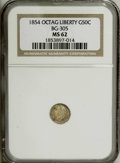 California Fractional Gold: , 1854 50C Liberty Octagonal 50 Cents, BG-305, Low R.4, MS62 NGC. NGCCensus: (4/4). PCGS Population (26/42). (#10425)...