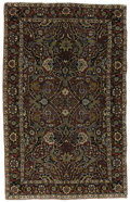 Rugs & Textiles:Carpets, An Antique Isfahan Rug. India, Circa 1900. Wool. 82.67 inches x 56.67 inches. Woven with beautiful burgundy background....
