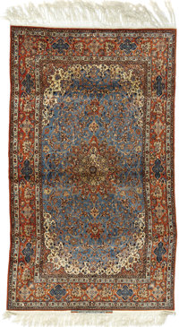 An Important Isfahan Carpet  Persia, Circa 1920 Manchester wool and silk warp 122 inches x 78 inches  Signed: SEI RA