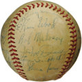 Autographs:Baseballs, 1951 St. Louis Browns Team Signed Baseball. Despite a last place finish in the American League and triple digits in the los...